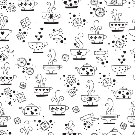 seamless pattern drinking of tea monochrome Stock Vector - 17015766