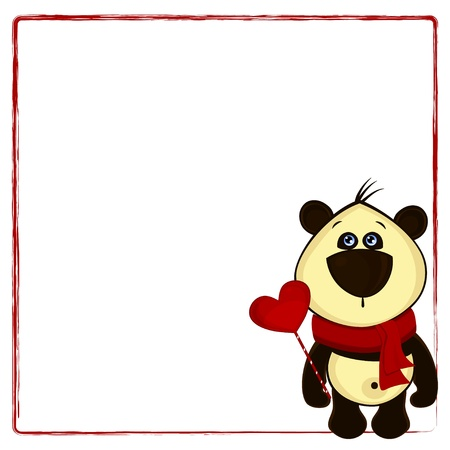 background for postcard with panda and heart Stock Vector - 17037822