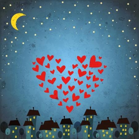 luna caricatura: fondo con el cielo nocturno, estrella y coraz�n Vectores