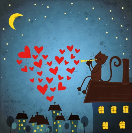 background with night sky ,star by cat and flute Illustration