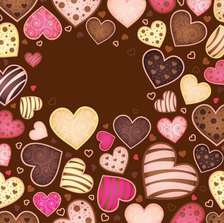chocolate background for text with heart Illustration