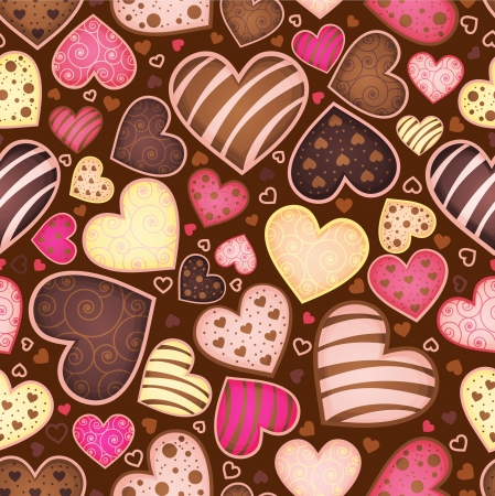 candy border: seamless chocolate pattern with sweetmeat heart