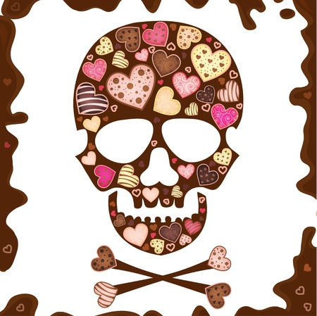 background with skull , sweetmeat and chocolate Vector