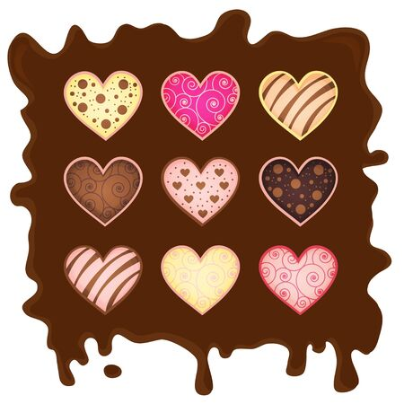 set heart-sweetmeats on chocolate Stock Vector - 17624822