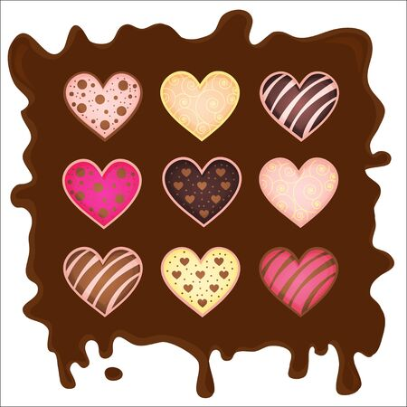 set of the sweetmeats in form heart on chocolate Stock Vector - 17624821