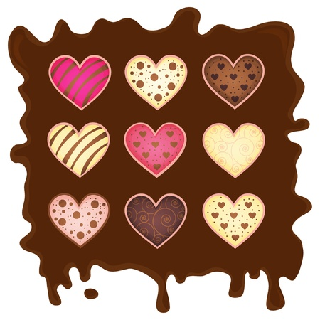 set heart on chocolate background