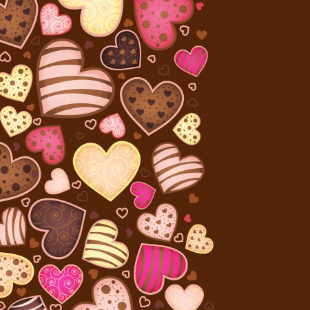 pastries: vertical chocolate background for text with heart