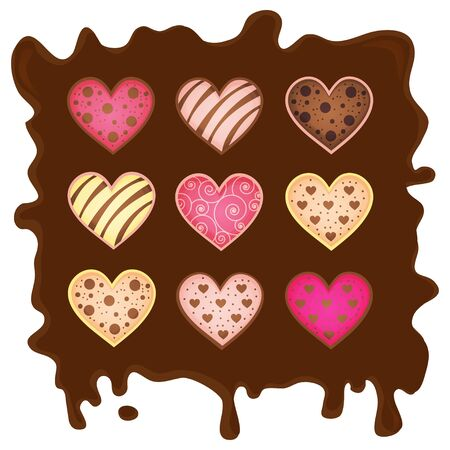 sweetmeats in form heart on chocolate background Stock Photo - 17624811