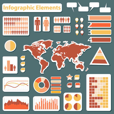 Set elements of infographics red and yellow
