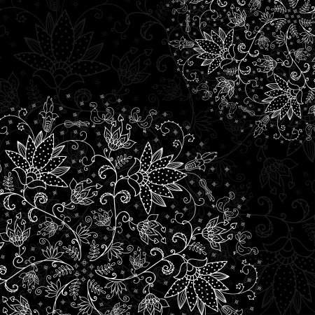 black background with lacy element Ilustração