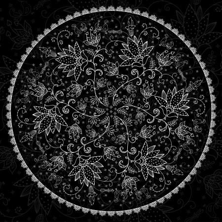 blanching lacy napkin on black background Illustration