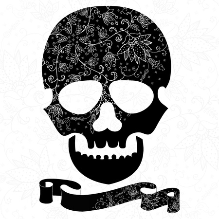black skull with lacy pattern on white background Vector