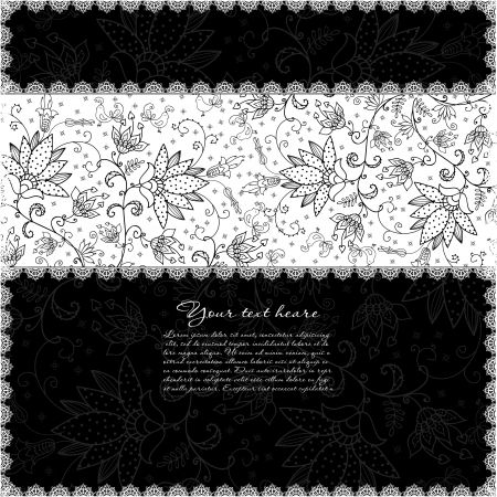 black background with lacy white band Illustration