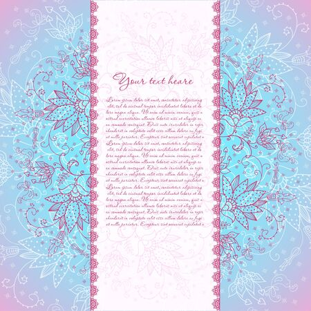 blue background with rose flower for text Stock Vector - 17953511