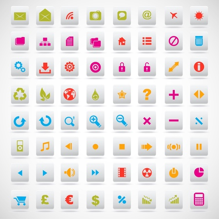 set of icons pink, green, yellow Stock Vector - 18658458