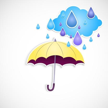 yellow umbrella: yellow umbrella and rain isolated Illustration