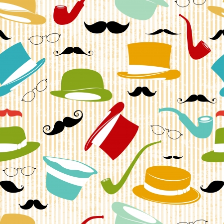 fake mustaches: Retro Party seamless background
