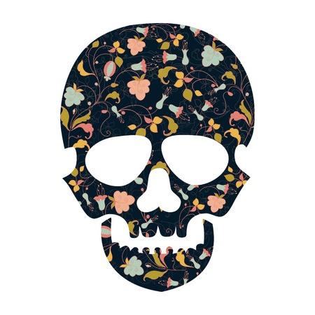 Day of The Dead  Skull with floral Illustration
