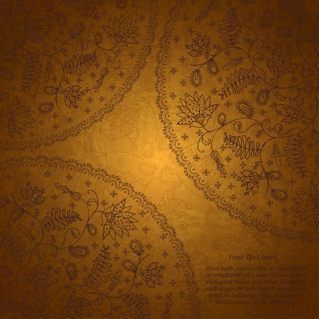 gold  lace background  in vintage style Vector