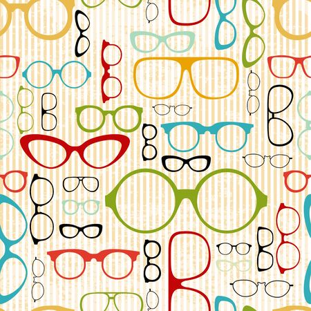 looking through an object: seamless glasses pattern in vintage style