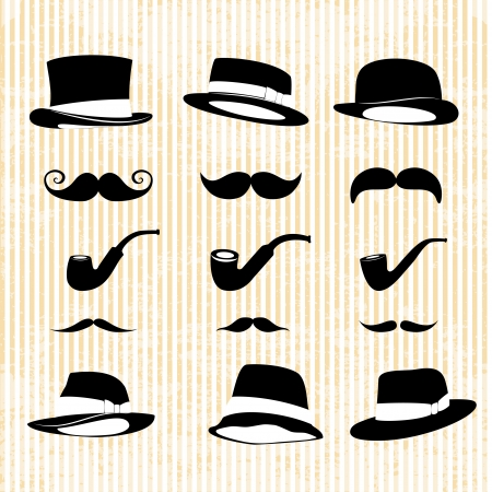 vintage set, with mustaches, hats and one pipe Vector