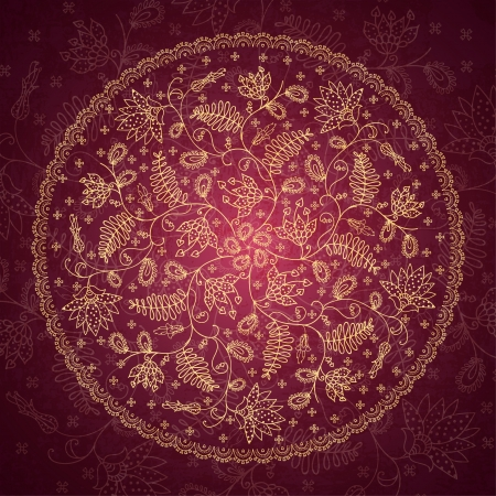 round flower ornament in vintage style Vector