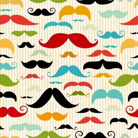 mania: Mustache seamless pattern in vintage style Illustration