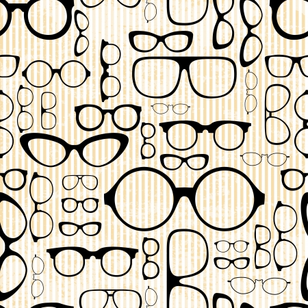 reading glass: seamless pattern from glasses in vintage style Illustration