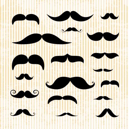 chins: Huge set of vector mustache