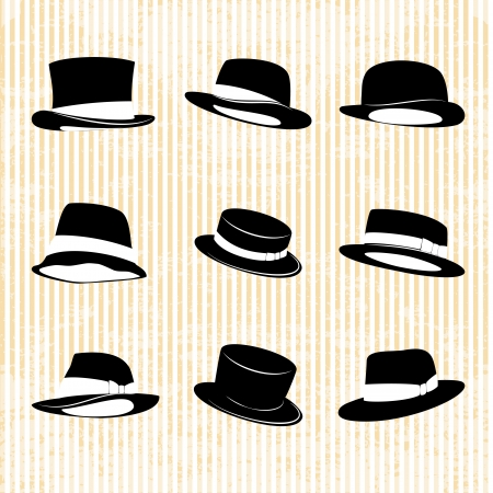derby hats: Vector Collection of Vintage Hats