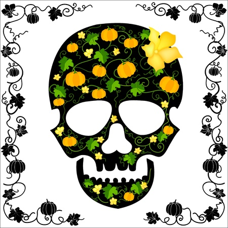 skull about flowers and pumpkins Stock Vector - 20167810