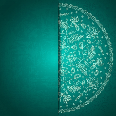 turquoise flower invitation card Vector