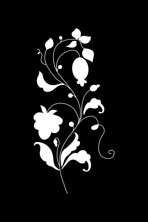 cyclamen: pattern silhouette from berries and flowers