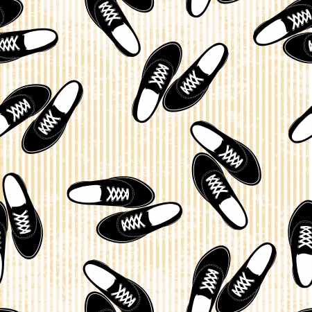 Seamless sneakers illustration background pattern Vector