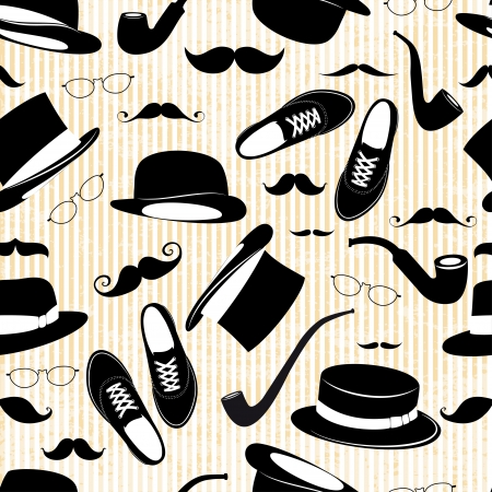 Hipster seamless background  with  elements Illustration