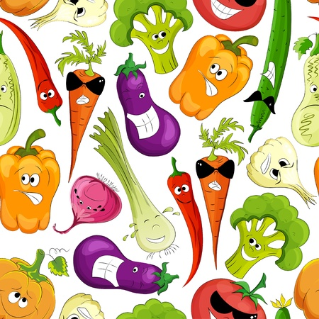 seamless pattern. healthy funny vegetable Vector
