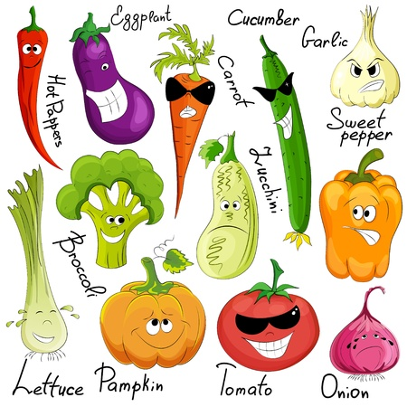 cartoon food: funny vegetable cartoon isolated on white background
