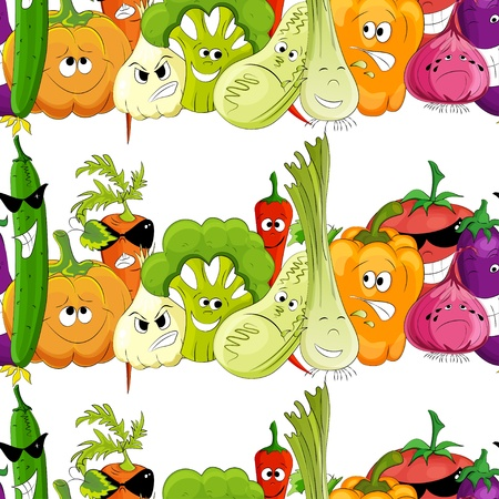 pumpkin tomato: seamless funny vegetable white background Illustration