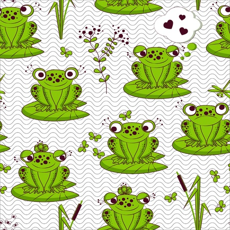 Seamless pattern - frogs in water