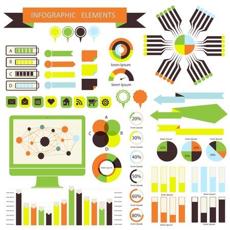 Vector infographic. orange-green 01