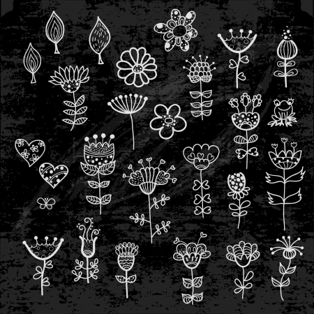 set of the flower elements drawn with chalk
