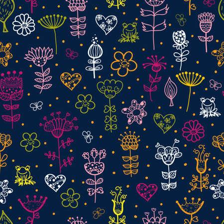 cute cartoon floral seamless pattern Vector
