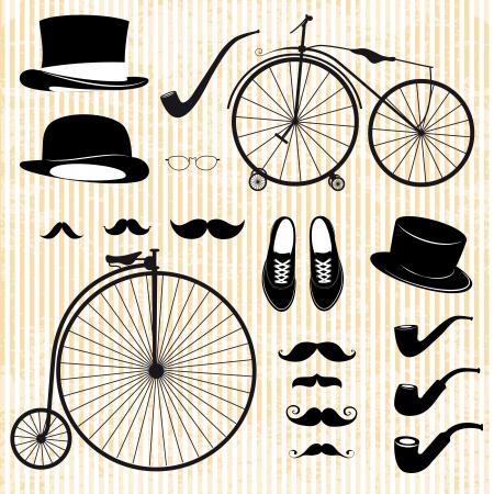antikes papier: gesetzt der Gentleman und Fahrrad