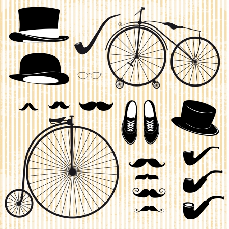 bicycle silhouette: set of the gentleman and bicycle