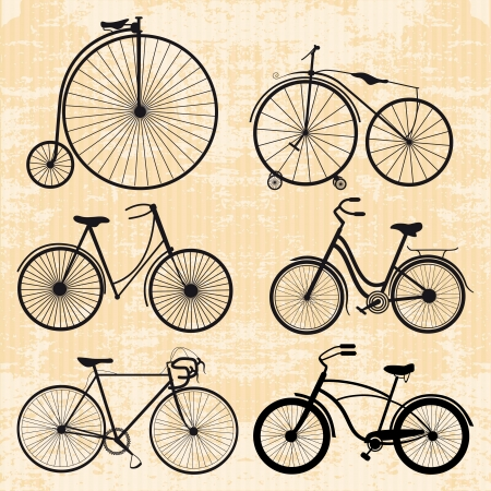 set of bicycles in vintage style Illustration