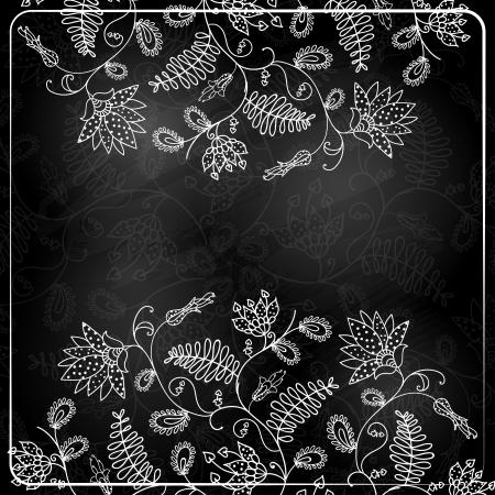 Chalk Style Hand Drawn Flowers Illustration