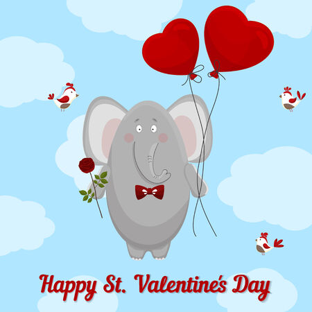 the elephant wishes happy Valentines day Vector