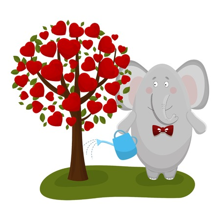 elephant with a tree and a watering can Vector