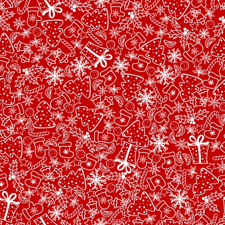 Christmas background, seamless tiling. Vector