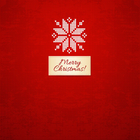 Merry Christmas Scandinavian style  knitted card, Vector